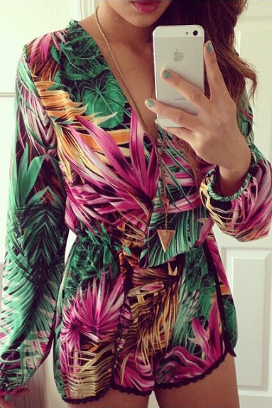 Fashion V-neck long-sleeved printed dress VC30716MN