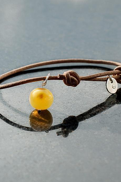 Handmade Necklace of Health and Protection- Amber with silver pendant on sliding leather