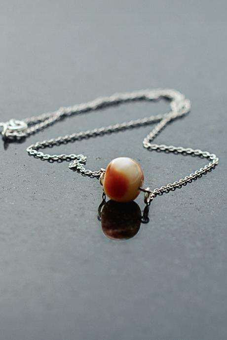 Handmade Necklace of SUCCESS- Amber on Sterling Silver 925 chain- 39cm long