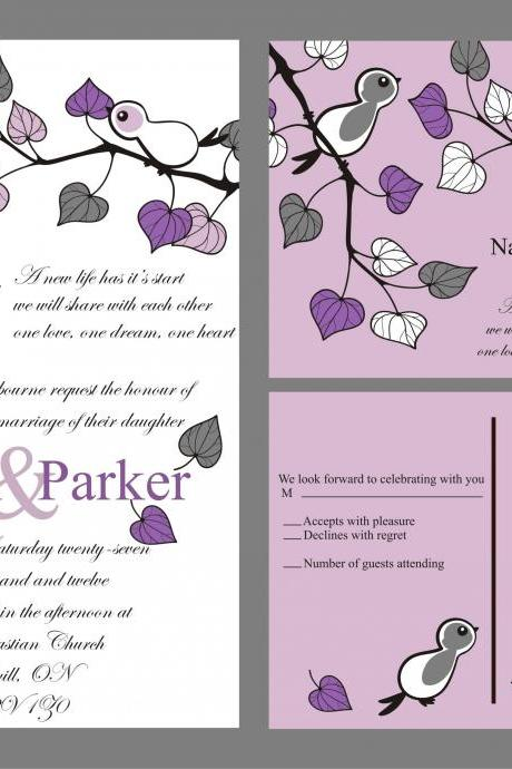 Budget wedding invitation with matching RSVP set love birds in purple custom set