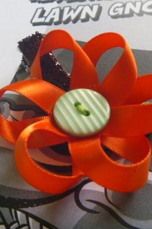 Halloween Flower Hair Clip/ Pumkin Flower Baby Hair Clip