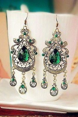 Unique & Wonderful Womens Bronze & Crystal Water Drop Shape Earrings Drop E-C569