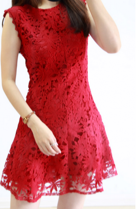 Sweet sleeveless embroidered lace fishtail dress #WE30907PO