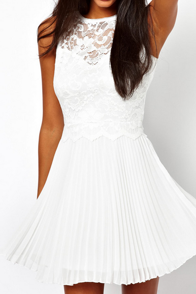 Slim white stitching lace halter dress #WE30910PO