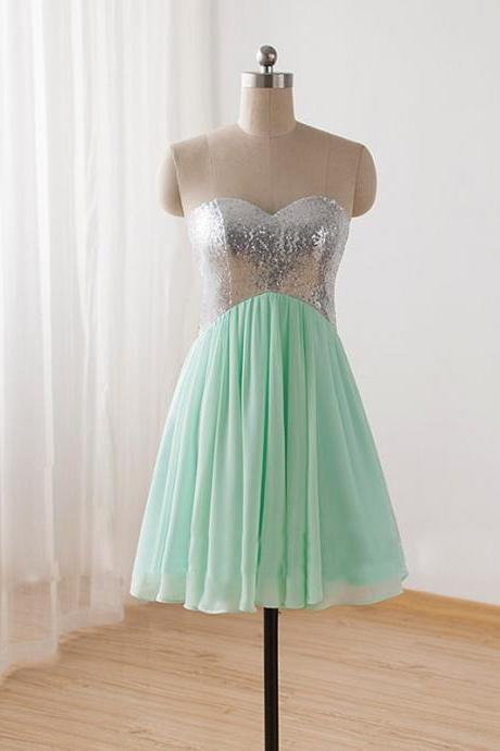 Pretty Handmade Short Mint Sequins Prom Dresses 2015, Formal Dresses 2015, Homecoming Dresses 2015, Graduation Dresses