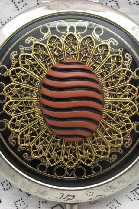Compact Mirror Black and Brown Swirley Stripes