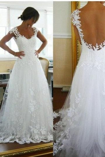 Cap sleeves white lace see through back wedding dress,sexy wedding gowns,custom made bridal wedding dresses2015