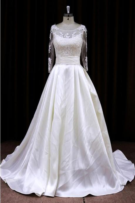 Taffeta A Line Wedding Dress With Lace Bodice And Sheer Long Sleeves