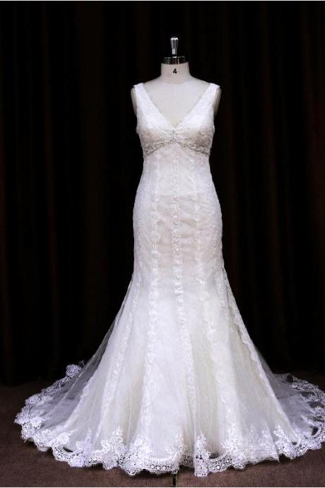 Designer Fit And Flare Mermaid Wedding Dress With Lace Appliques