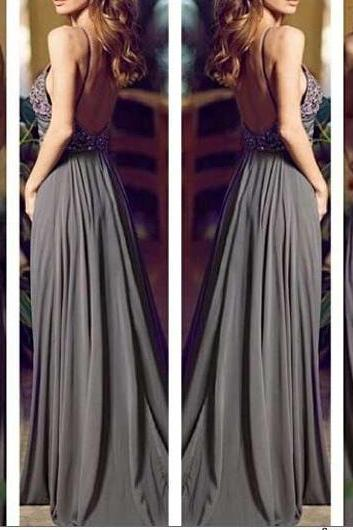 Gray Long Prom Dresses, Formal Dress, Straps Prom Gowns,Beaded Evening Dresses, Backless Evening Gowns, Cocktail Dresses Custom