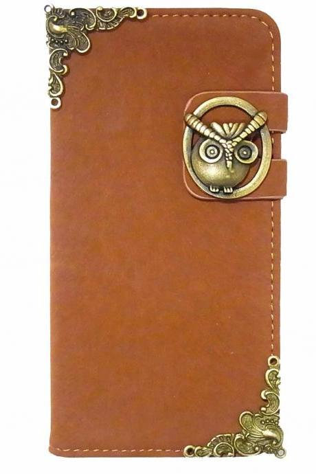 Owl Samsung Galaxy S3 S4 Wallet Leather Case,Vintage Samsung Galaxy S5 leather Wallet Case,Samsung Galaxy Note 2 leather wallet case,Victorian Vintage Velvet Owl Samsung N9000 Galaxy Note 3 Wallet Leather Case Cover A3 Brown