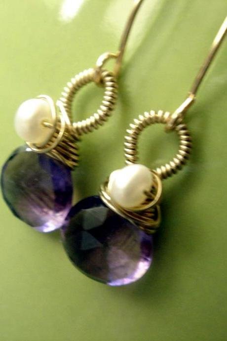 14k Gold Filled Amethyst and Freshwater Pearl Earrings