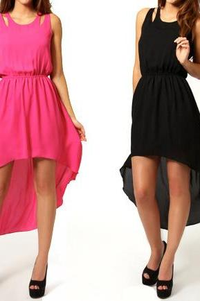 Back Slit Skirt Irregular Skirt Solid Color Chiffon Sleeveless Dress