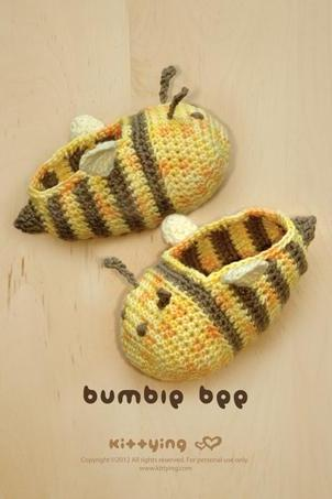 Bumble Bee Baby Booties Crochet PATTERN, Chart & Written Pattern by kittying