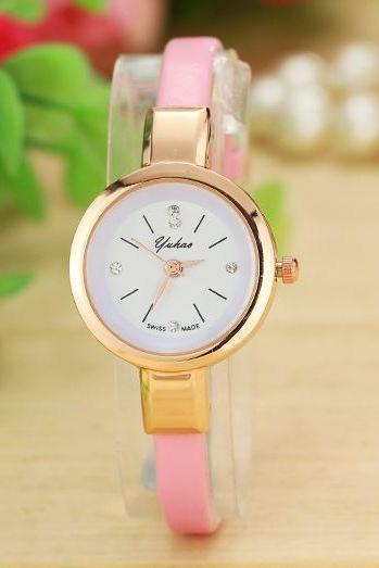 Fashion pink Dress Thin Strap Woman Watch