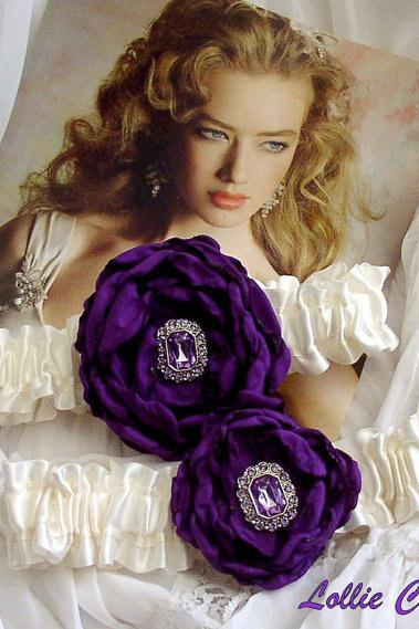 Purple wedding garters - Pour mon amour - wedding garter set