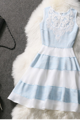 Embroidered Organza Striped Skirt Fashion Dress