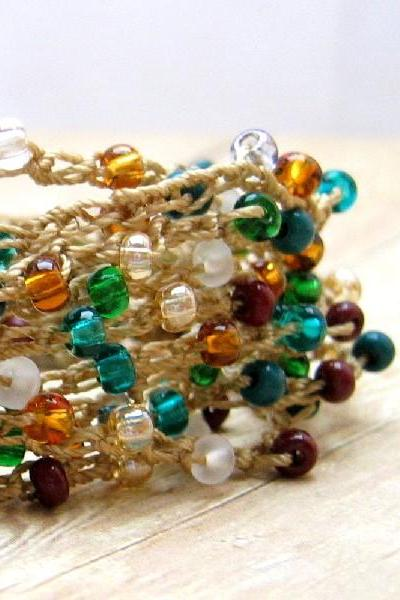 Autumn Color Wrap Bracelet, Crochet Boho Bracelet, Bohemian Style Jewelry, Fall Accessory