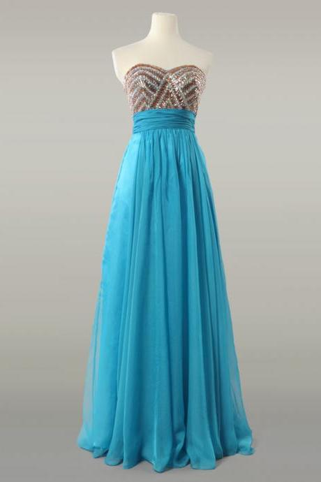 Teal Chiffon Strapless Prom Dress With Gold Sequined Bodice