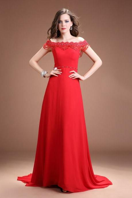 2015 Red Chiffon Off The Shoulder Evening Gown With Sweep Train