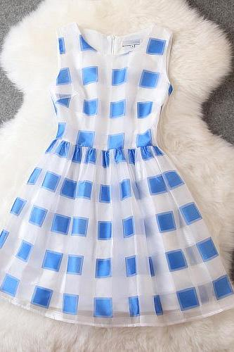 2015 summer wear the new dress Organza jacquard plaid cultivate one's morality show thin princess dress dresses