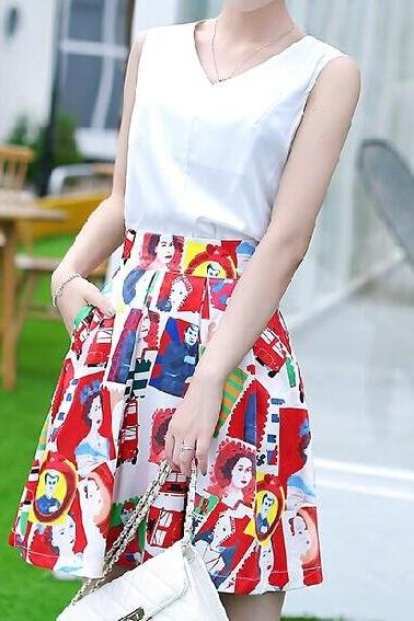 Slim Printed Chiffon Dress (Two-Piece )