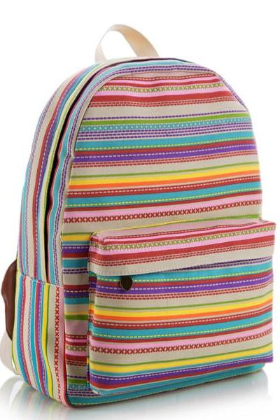 Multicolor Stripes Canvas Backpack Schoolbag