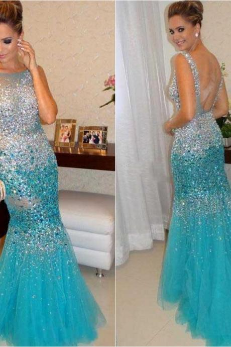 Luxury 2015 Crystal Sexy Vestidos De Fiesta Mermaid Prom Dresses Tulle Long Women Party Dresses Formal Evening Dress Custom Made