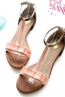Casual Flat Low Heel Basic Pink PU Sandals