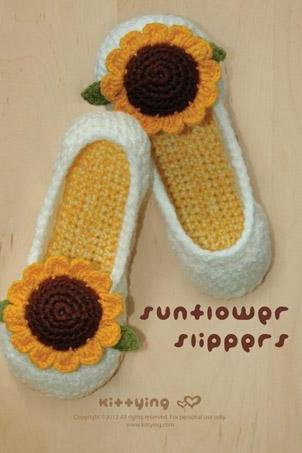Crochet Pattern Sunflower Women's House Slipper - Women's sizes 5 - 10 - Chart & Written Pattern by kittying