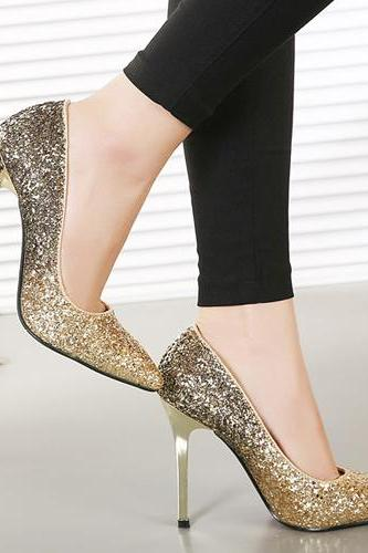 Gradient Glitter Pointed-Toe Stiletto Pumps, High Heels, Prom Shoes, Party Shoes