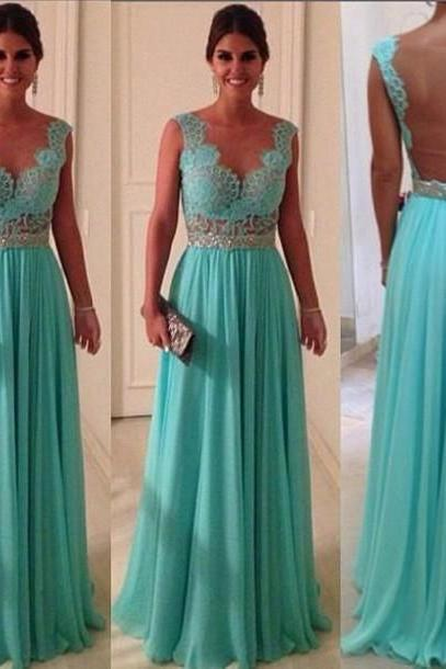 Custom Made A line Long Blue Lace Prom Dresses, Bridesmaid Dresses, Dresses for Prom, Lace Graduation Dresses,vestido de fiesta,lace and chiffon evening dresses,long evening dress