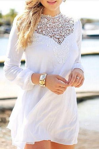 Fashion Lace Spliced Long Sleeve Loose Chiffon Dress