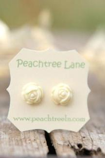 Cream Ivory Rose Flower Post Earrings // Bridesmaid Gifts // Maid of Honor Gifts // Bridal Shower Gifts