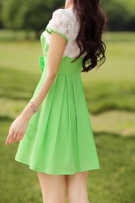 Summer Fashion Bow Short-Sleeved Dress