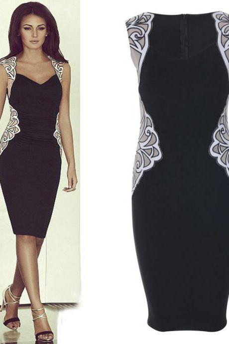 Celeb Women Sexy Lace Mesh Embroided Bodycon Party Cocktail Evening Pencil Dress