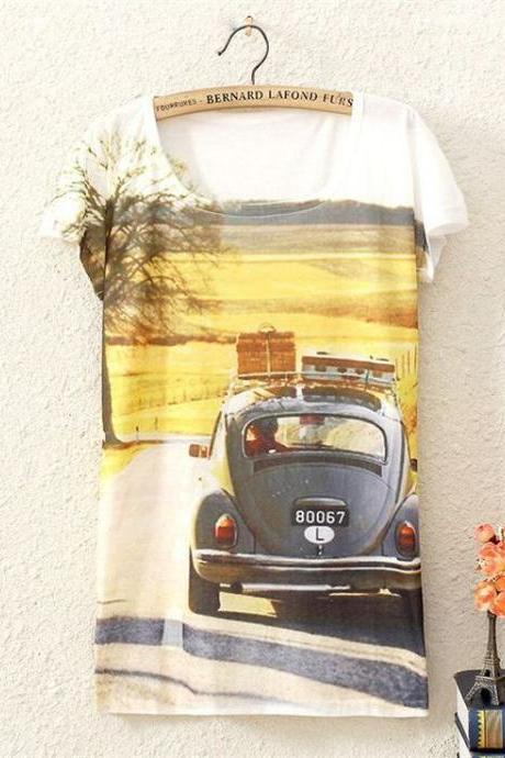 Travel car adventure Print Fashion Tee Girl Top