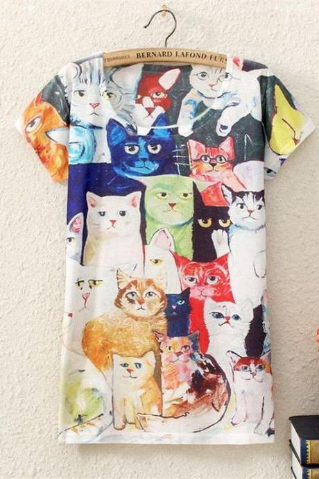 Cute cat faces Print Fashion Tee Girl Top