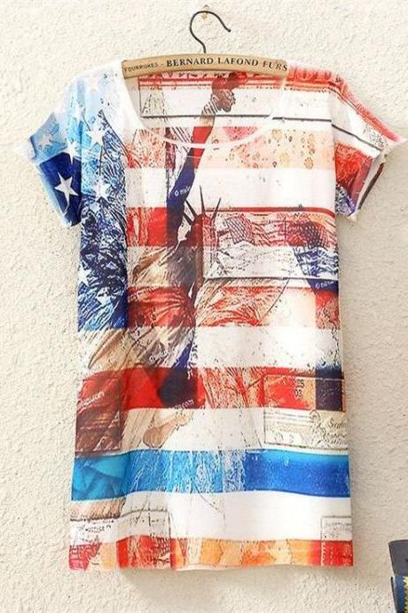 New York American flag Print Fashion Tee Girl Top