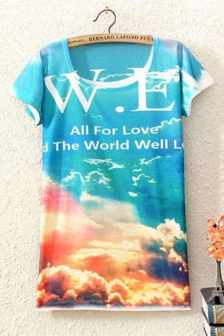 Love around the world Print Fashion Tee Girl Top