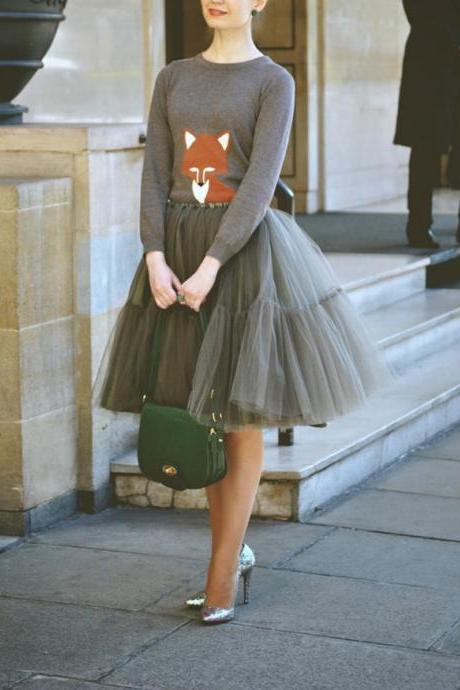 S-8 High Quality Skirt, Fashion Street Style Skirt,Tulle Skirt,Charming Women Skirt,spring Autumn Skirt ,A-Line Skirt