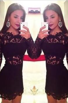 Elegant Sexy Women Fashoin Black Long Sleeve Lace Hollow Slim Fit Mini Dress As Women Christmas Party Prom Dress