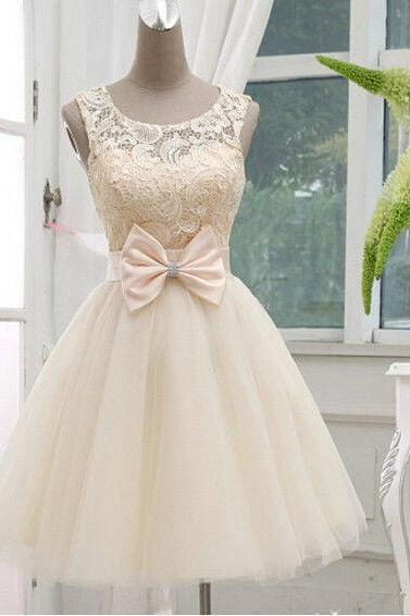 Custom Made A Line Round Neck Short Lace Prom Dresses, Short Bridesmaid Dresses