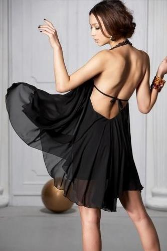 Fashion Backless Jewel Black Chiffon Halter Mini Dress