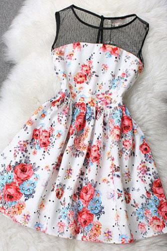 Floral Print Splicing Sleeveless Mesh Top Flared Skater Dress