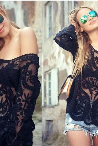 Hollow Out Long Sleeve Crochet Lace Blouse Tops For Women