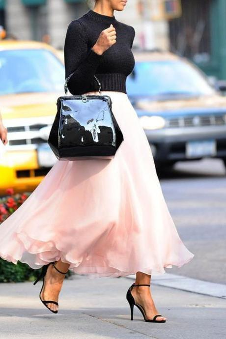 S-5 Long Skirt, Fashion Street Style Skirt,Tulle Skirt,Charming Women Skirt,spring Autumn Skirt ,A-Line Skirt