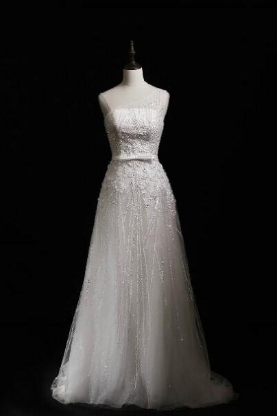 2015 Tulle Full Beaded A Line Wedding Dress With Sheer One Shoulder