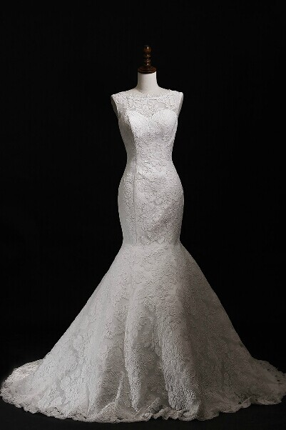 2015 Lace Jewel Neckline Mermaid Wedding Dress With Bow Detail And V Back