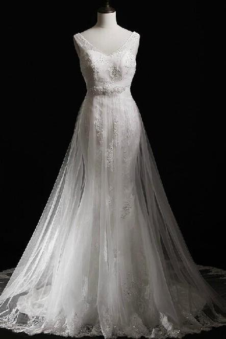 2015 Tulle Sheer Shoulder Mermaid Wedding Dresses With Beading And Lace Appliques